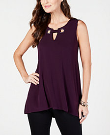 Alfani Grommet Keyhole Sleeveless Top, Created for Macy's