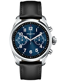 Men's Swiss Summit 2 Black Leather Strap Touchscreen Smart Watch 42mm
