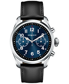 Montblanc Men's Swiss Summit 2 Black Leather Strap Touchscreen Smart Watch 42mm, Created for Macy's