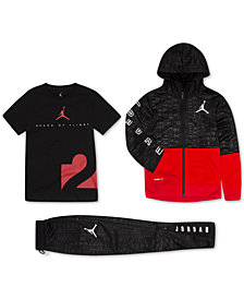 Jordan Little Boys 23 Tech Accolades Zip-Up Hoodie, Graphic T-Shirt & Athletic Pants