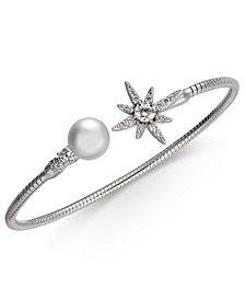 Danori Silver-Tone Crystal Star & Imitation Pearl Cuff Bracelet, Created for Macy's