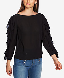 1.STATE Ruffled Split-Sleeve Blouse