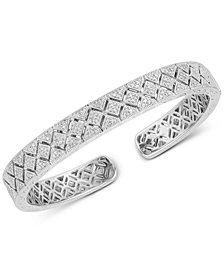 Diamond Engraved Bangle Bracelet (3/8 ct. t.w.) in Sterling Silver