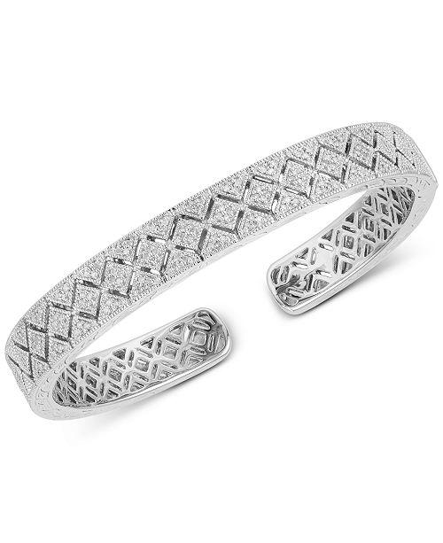 Macy's Diamond Engraved Bangle Bracelet (3/8 ct. t.w.) in Sterling Silver