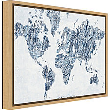 Amanti Art World on a String Map by Piper Rhue Canvas Framed Art