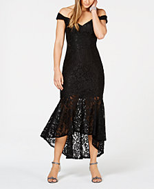 XSCAPE Off-The-Shoulder Allover-Lace Midi Dress