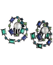 Carolee Hematite-Tone Crystal & Freshwater Pearl (10mm) Spiral Clip-On Button Earrings