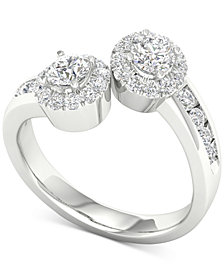 Diamond Two-Stone Halo Engagement Ring (1 ct. t.w.) in 14k White Gold