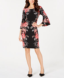 MSK Floral-Print Bell-Sleeve Sheath Dress
