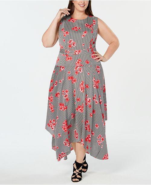 Calvin Klein Plus Size Floral-Print Handkerchief-Hem Dress & Reviews ...