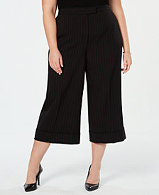 Anne Klein Plus Size Striped Cropped Wide-Leg Pants