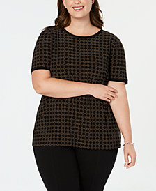 Anne Klein Plus Size Printed Button-Up Back Top