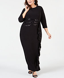 R & M Richards Plus Size Sequin-Trim Ruffle-Detail Gown