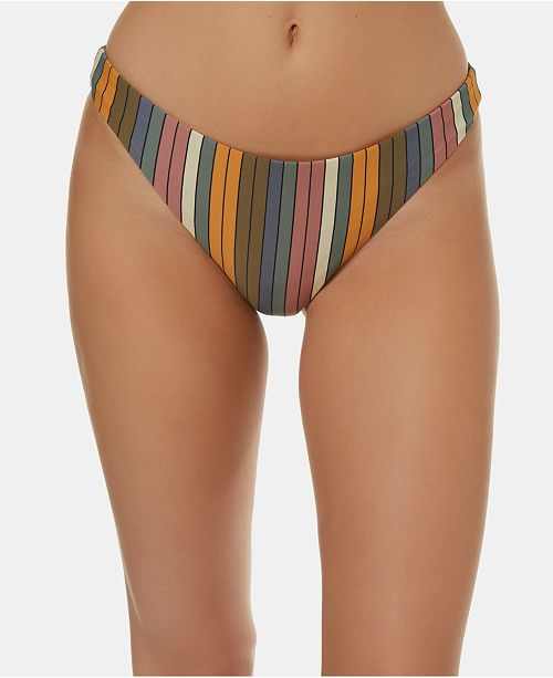 547ca207e5185 O'Neill Juniors' Lora Striped High-Leg Cheeky Bikini Bottoms ...