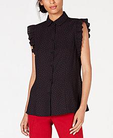 Anne Klein Printed Flutter-Sleeve Shirt