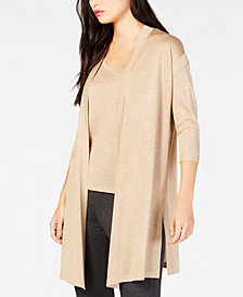 Anne Klein Metallic Open-Front Cardigan