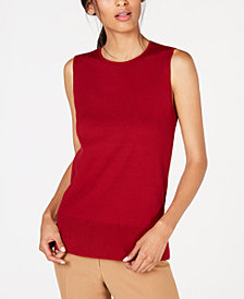 Anne Klein Pointelle-Trim Sleeveless Sweater
