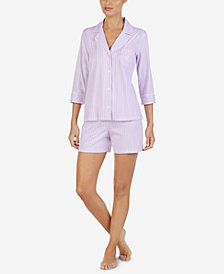 Lauren Ralph Lauren Printed Cotton Top & Shorts Pajama Set