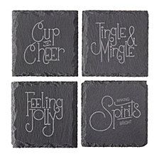 Cathys Concepts Let's Jingle Slate Coasters, Set of 4