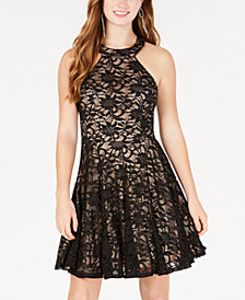 B Darlin Juniors' Allover-Lace Halter-Neck Fit & Flare Dress