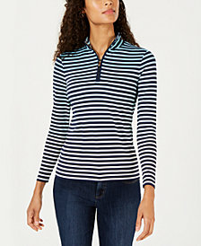 Charter Club Striped Half-Zip Top, Created for Macy's