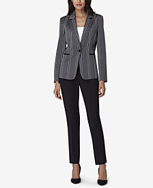 Tahari ASL One-Button Striped Blazer