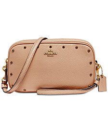 COACH Crystal Border Rivets Crossbody Clutch in Pebble Leather