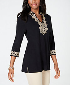Charter Club Lace-Trim Tunic Top, Created for Macy's