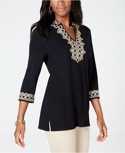 b80487847fe24 ... Charter Club Lace-Trim Tunic Top