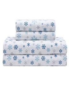 Microfiber Holiday Print Queen Sheet Set