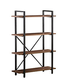 Finn Industrial Four-Shelf Bookcase
