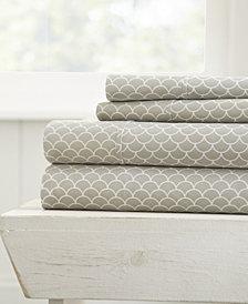 Home Collection Premium Ultra Soft Scallops Pattern 4 Piece Bed Sheet Set, Queen