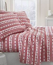 Home Collection Premium Reindeer Print Flannel Twin Sheet Set, 3-Piece