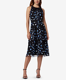 Tahari ASL Embroidered Mesh Fit & Flare Dress