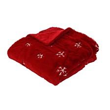 "Gabriella Sequin Snowflake Embroidered Faux Fur Decorative Throw, 50"" X 60"""
