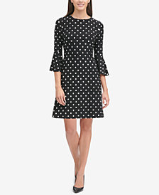 Tommy Hilfiger Polka Dot Bell-Sleeve Dress