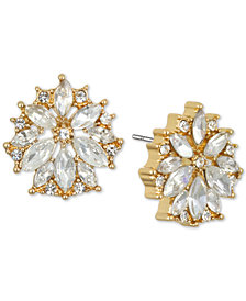 Jewel Badgley Mischka Gold-Tone Crystal Flower Stud Earrings
