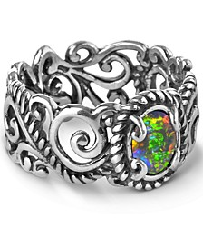 Opal Triplet (5x7mm) Scroll Band Ring in Sterling Silver