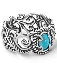 Turquoise (5x7mm) Scroll Band Ring in Sterling Silver