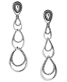 Triple-Loop Dangle Earrings in Sterling Silver