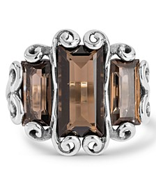 Triple Brown Quartz (7 ct. t.w.) Faceted Rectangle Ring in Sterling Silver