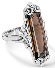 Carolyn Pollack Brown Quartz (11-3/4 ct. t.w.) Faceted Ring in Sterling Silver