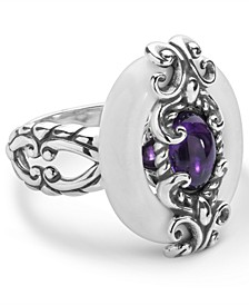 Amethyst and White Agate Ring in Sterling Silver