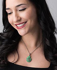 Carolyn Pollack Green Jade Spiral Pendant Enhancer in Sterling Silver
