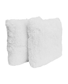"Thro 20"" x 20"" Polyester Fill Chubby Faux Fur Pillow, Pack Of 2"