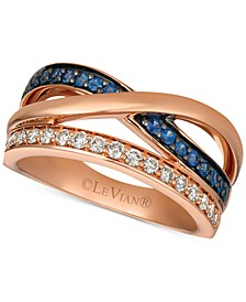 Emerald (1/5 ct. t.w.) & Diamond (1/4 ct. t.w.) Ring in 14k Rose Gold (Also Available in Sapphire)