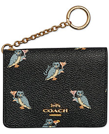 COACH Owl-Print Key Ring Card Case