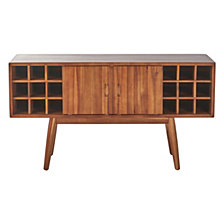 Edlyn Mid Century Light Oak Finished Wood Bar Cabinet