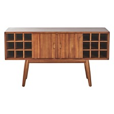 Edlyn Mid Century Light Oak Finished Wood Bar Cabinet
