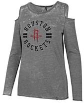 47 Brand Women s Houston Rockets Cold Shoulder Long Sleeve T-Shirt bc5d5e814